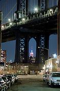 Night view of Manhattan Bridge and Empire State Building
