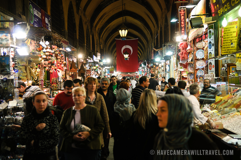 A bustling street of the indoor Spice Bazaar (also known as the Egyption Bazaar) in Istanbul, Turkey.