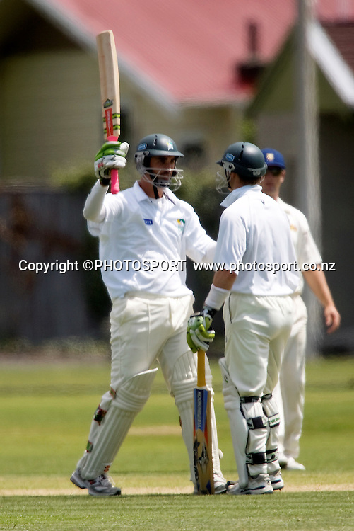 Central Stag's Mathew Sinclair celebrates his 100 with team mate Bevan Griggs, State Championship cricket match. Central v Otago. Nelson Park, Napier. Monday 12 November 2007. Photo: John Cowpland/PHOTOSPORT