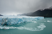 The eastern section of Perito Moreno Glacier, with ice fragments slowly melting into Lake Argentino.