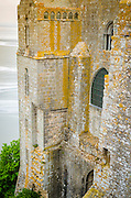 Abbey wall and bay, Mont Saint-Michel monastery, Normandy, France