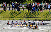 Nottingham, Great Britain, ENGLAND,   background, St Peter's School rowing through a sinking, Shiplake College, first eight, during the morning processional race, at the 2008 National Schools Regatta, Holme Pierrepont,  Saturday,  24/05/2008.  [Mandatory Credit:  Peter Spurrier/Intersport Images]