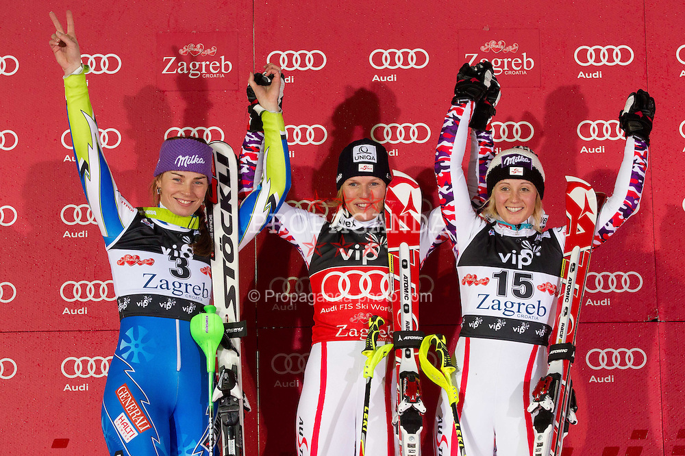 03.01.2012, Crveni Spust, Sljeme, CRO, FIS Weltcup Ski Alpin, Zagreb, Damen Slalom Podium, im Bild Second placed MAZE Tina (SLO), winner SCHILD Marlies (AUT) and third placed KIRCHGASSER Michaela (AUT) celebrate at flower ceremony // after Slalom race 2nd run of FIS Ski Alpine World Cup at 'Crveni Spust' course in Sljeme, Zagreb, Croatia on 2012/01/03. EXPA Pictures © 2012, PhotoCredit: EXPA/ Sportida/ Vid Ponikvar..***** ATTENTION - OUT OF SLO *****