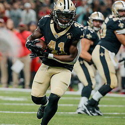 Sep 9, 2018; New Orleans, LA, USA; New Orleans Saints running back Alvin Kamara (41) against the Tampa Bay Buccaneers during the first half of a game at the Mercedes-Benz Superdome. Mandatory Credit: Derick E. Hingle-USA TODAY Sports