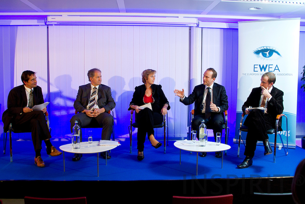 The panel seen from left: Christian Kjaer, CEO, EWEA,  Jo Leinen MEP, Chairman of the Environment, Public Health and Food Safety Committee, European Parliament, Connie Hedegaard, European Commissioner for Climate Action, Martin Lidegaard, Minister for Climate, Energy and Building, Denmark, and  Josche Muth, Acting Secretary General, EREC - European Renewable Energy Council, at the EWEA Debate meeting on Achieving 30% lower emissions in the EU: the role of wind energy & other renewables at the EWEA office in Brussels 8 November 2011. Photo: Erik Luntang/INSPIRIT