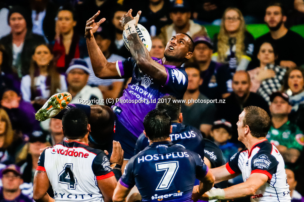 .Melbourne Storm v Vodafone Warriors, Round 8 of the 2017 NRL Rugby League Premiership season at AAMI Park in Melbourne, Australia. 25 April 2017. Copyright photo: Brendon Ratnayake / www.photosport.nz
