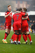 Crawley players celebrate a goal during the EFL Sky Bet League 2 match between Crawley Town and Newport County at the Checkatrade.com Stadium, Crawley, England on 17 December 2016. Photo by Andy Walter.