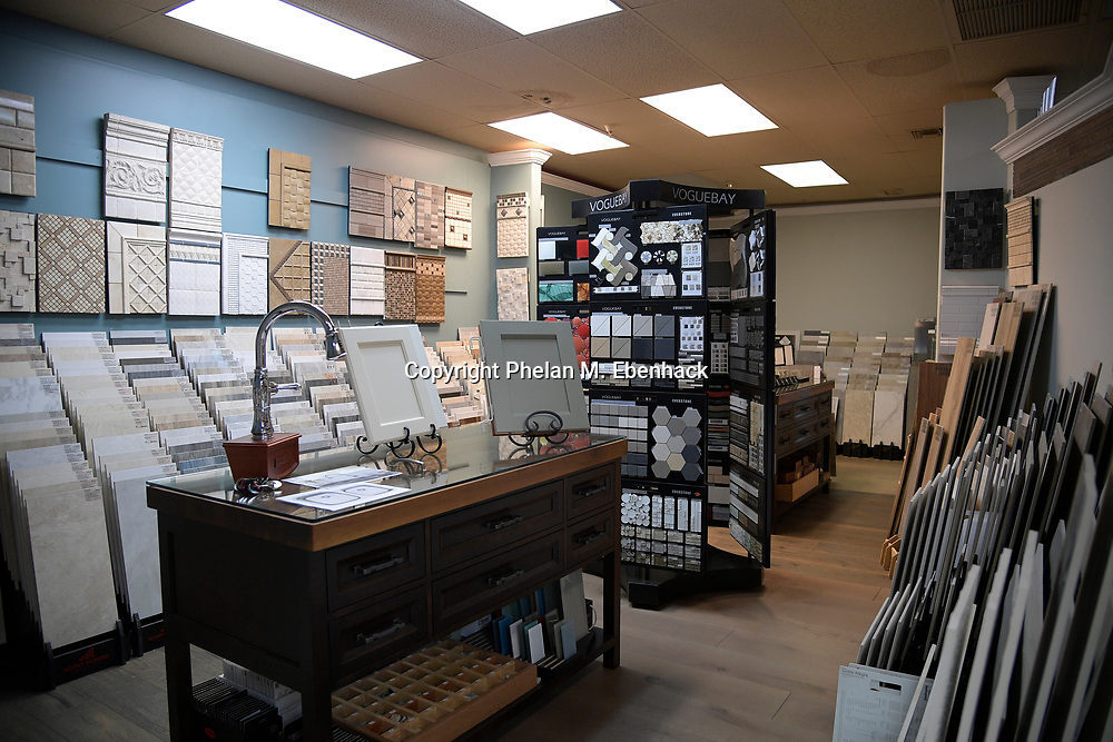 Tile samples are displayed in the showroom of KBF Design Gallery Monday, Sept. 18, 2017, in Altamonte Springs, Fla. (Photo by Phelan M. Ebenhack)