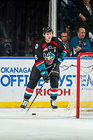 KELOWNA, BC - OCTOBER 03:  Kaedan Korczak #6 of the Kelowna Rockets stops behind the net with the puck against the Vancouver Giants  at Prospera Place on October 3, 2018 in Kelowna, Canada. (Photo by Marissa Baecker/Getty Images)