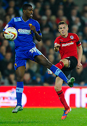 Cardiff Midfielder Craig Noone (ENG) shoots past Watford Defender Nathaniel Chalobah (ENG) during the second half of the match - Photo mandatory by-line: Rogan Thomson/JMP - Tel: Mobile: 07966 386802 23/10/2012 - SPORT - FOOTBALL - Cardiff City Stadium - Cardiff. Cardiff City v Watford - Football League Championship
