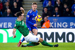 James Maddison of Leicester City takes on Lewis Dunk of Brighton and Hove Albion - Mandatory by-line: Robbie Stephenson/JMP - 26/02/2019 - FOOTBALL - King Power Stadium - Leicester, England - Leicester City v Brighton and Hove Albion - Premier League