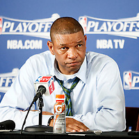28 April 2013: Boston Celtics head coach Doc Rivers is seen during a press conference following the Boston Celtics 97-90 overtime victory over the New York Knicks during Game Four of the Eastern Conference Quarterfinals of the 2013 NBA Playoffs at the TD Garden, Boston, Massachusetts, USA.