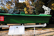 Israel, Haifa, The Clandestine Immigration and Navy Museum. Captured terrorist speedboat used in attempt to overrun a beach in 1990