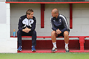 AFC Wimbledon manager Neal Ardley talking to afc wimbledon assistant manager Neil Cox during the Pre-Season Friendly match between Ebbsfleet and AFC Wimbledon at Stonebridge Road, Ebsfleet, United Kingdom on 29 July 2017. Photo by Matthew Redman.