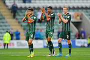 Connor Smith (6) of Plymouth Argyle, Jake Jervis (14) of Plymouth Argyle and Nauris Bulvitis (5) of Plymouth Argyle applaud the fans after the final whistle in the EFL Sky Bet League 2 match between Plymouth Argyle and Hartlepool United at Home Park, Plymouth, England on 24 September 2016. Photo by Graham Hunt.