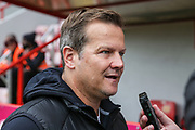 Forest Green Rovers head coach, Mark Cooper being interviewed pre match during the EFL Sky Bet League 2 match between Exeter City and Forest Green Rovers at St James' Park, Exeter, England on 12 October 2019.