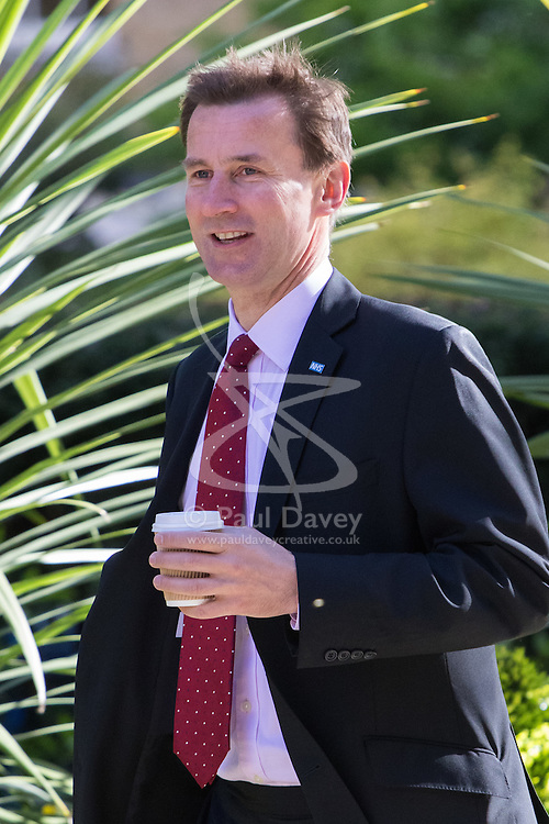 Downing Street, London, May 3rd 2016. Health Secretary Jeremy Hunt arrives at 10 Downing Street for the weekly cabinet meeting. ©Paul Davey<br /> FOR LICENCING CONTACT: Paul Davey +44 (0) 7966 016 296 paul@pauldaveycreative.co.uk
