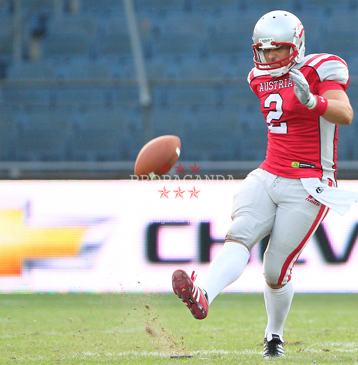 13.07.2011, UPC Arena, Graz, AUT, American Football WM 2011, Group B, Austria (AUT) vs France (FRA), im Bild Kickoff durch Peter Kramberger (Austria, #2, K)  // during the American Football World Championship 2011 Group B game, Austria vs France, at UPC Arena, Graz, 2011-07-13, EXPA Pictures © 2011, PhotoCredit: EXPA/ T. Haumer