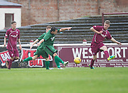 Chris Geddes fires Stirling University  into the lead with a fantastic strike from outside the box  - Arbroath v Stirling University FC, William Hill Scottish Cup Second Round at Gayfield, Arbroath. Photo: David Young<br /> <br />  - &copy; David Young - www.davidyoungphoto.co.uk - email: davidyoungphoto@gmail.com
