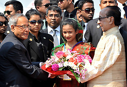 Bangladeshi President Zillur Rahman (R) welcomes visiting Indian President Pranab Mukherjee (L) at Shahjalal International Airport in Dhaka, Bangladesh, March 3, 2013. The Indian President arrived here Sunday for a three-day official visit. Dhaka, capital of Bangladesh, March 3, 2013.,  March 4, 2013. Photo by Imago / i-Images...UK ONLY