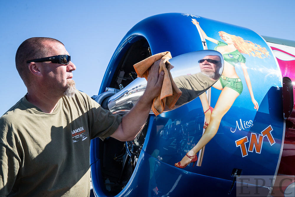 RENO, NV - SEPTEMBER 13: Crew member Steve Klineman polishes the propeller on Miss TNT before todays heats at the Reno Championship Air Races on September 13, 2017 in Reno, Nevada. (Photo by Jonathan Devich/Getty Images) *** Local Caption *** Steve Klineman