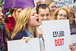 Westminster, London, December 2nd 2015. Student nurses, midwives, occupational therapists, speech and language therapists, podiatrists, radiographers, dietetics and ODPs demonstrate against cuts to NHS bursaries that could saddle these key health workers with years of debt. They claim that with salaries capped at 1% pay rises over the next four years, many are choosing other careers, depriving the UK of these key health professionals.<br />  ///FOR LICENCING CONTACT: paul@pauldaveycreative.co.uk TEL:+44 (0) 7966 016 296 or +44 (0) 20 8969 6875. &copy;2015 Paul R Davey. All rights reserved.