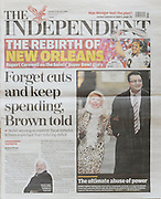 Picture ©Mark Larner. Picture shows front page of The Independent  09.02.10 showing image of Ali Dizaei arriving at  Southwark Crown Court. 8th February 2010...Dizaei, a former Metropolitan Police Commander, was today found guilty of gross misconduct in a public office and perverting the course of justice.
