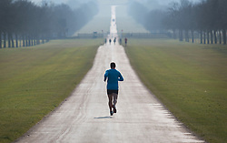 © Licensed to London News Pictures. 17/03/2016. Windsor, UK. A runner jogs on The Long Walk in spring sunshine. Photo credit: Peter Macdiarmid/LNP