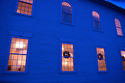 Congregational Church windows at twilight, Middlebury, Vermont