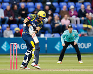 Glamorgan's Colin Ingram fends<br /> <br /> Photographer Simon King/Replay Images<br /> <br /> Vitality Blast T20 - Round 14 - Glamorgan v Surrey - Friday 17th August 2018 - Sophia Gardens - Cardiff<br /> <br /> World Copyright &copy; Replay Images . All rights reserved. info@replayimages.co.uk - http://replayimages.co.uk