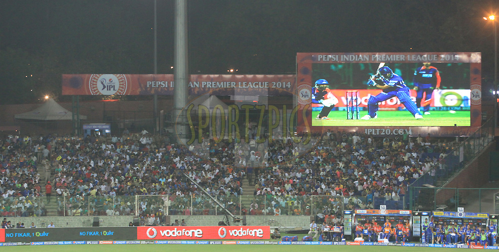 A electronic screen during match 23 of the Pepsi Indian Premier League Season 2014 between the Delhi Daredevils and the Rajasthan Royals held at the Feroze Shah Kotla cricket stadium, Delhi, India on the 3rd May  2014<br /> <br /> Photo by Arjun Panwar / IPL / SPORTZPICS<br /> <br /> <br /> <br /> Image use subject to terms and conditions which can be found here:  http://sportzpics.photoshelter.com/gallery/Pepsi-IPL-Image-terms-and-conditions/G00004VW1IVJ.gB0/C0000TScjhBM6ikg