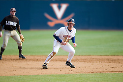 Virginia Cavaliers INF Jeremy Farrell (17) takes a lead off second base.  The #17 ranked Virginia Cavaliers baseball team defeated the Lehigh Mountain Hawks 12-1 at the University of Virginia's Davenport Field in Charlottesville, VA on February 24, 2008.