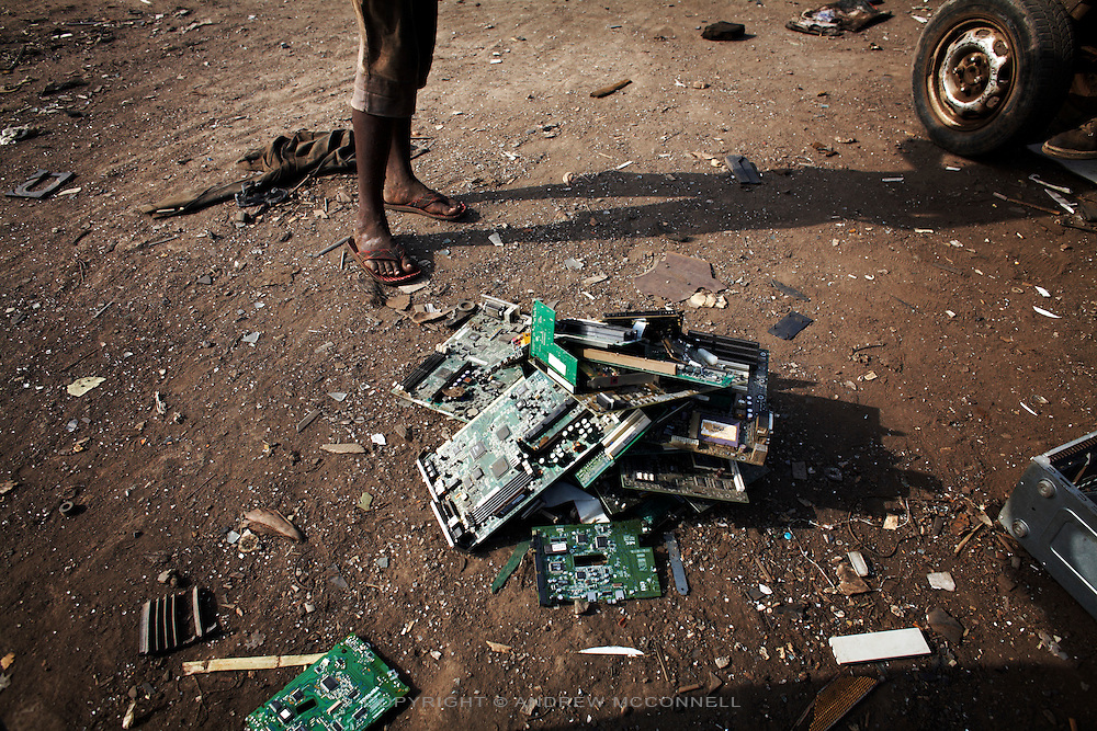 Computer circuit boards begin to pile up at Agbogbloshie dump, in Accra, Ghana.