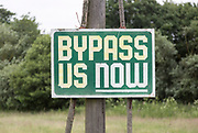 Bypass Us Now sign at Marlesford, Suffolk, England, UK