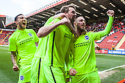 Brighton striker Jiri Skalak celebrates after making it 2-1 during the Sky Bet Championship match between Charlton Athletic and Brighton and Hove Albion at The Valley, London, England on 23 April 2016. Photo by Bennett Dean.