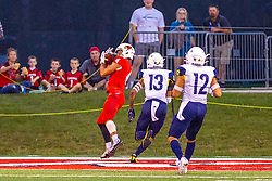 NORMAL, IL - September 21: Andrew Edgar catches a pass in the end zone during a college football game between the ISU (Illinois State University) Redbirds and the Northern Arizona University (NAU) Lumberjacks on September 21 2019 at Hancock Stadium in Normal, IL. (Photo by Alan Look)