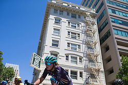 Manon Lloyd (GBR) of Trek-Drops Cycling Team leans into a corner on Stage 3 of the Amgen Tour of California - a 70 km road race, starting and finishing in Sacramento on May 19, 2018, in California, United States. (Photo by Balint Hamvas/Velofocus.com)