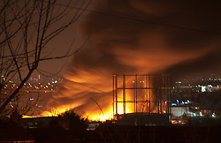 © Licensed to London News Pictures. 21/02/15 LONDON. Warehouse explosions and fire at Yearnton Way, Belevedere East London at 3am Saturday morning (21st February 2015). Almost 100 firefighters took more than three hours to tackle the huge fire that completely destroyed the warehouse.Please let me know if you can use them.e. Photo credit : Marshall Pinsent/LNP