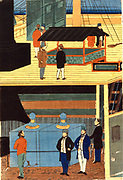 Cross-section of a European ship showing men in European dress on deck, top, and men on the lower deck: Yokahama, Japan, 1861. Utagawa Yoshikazu (active c1850-1870) Japanese artist. Commerce Trade Merchant