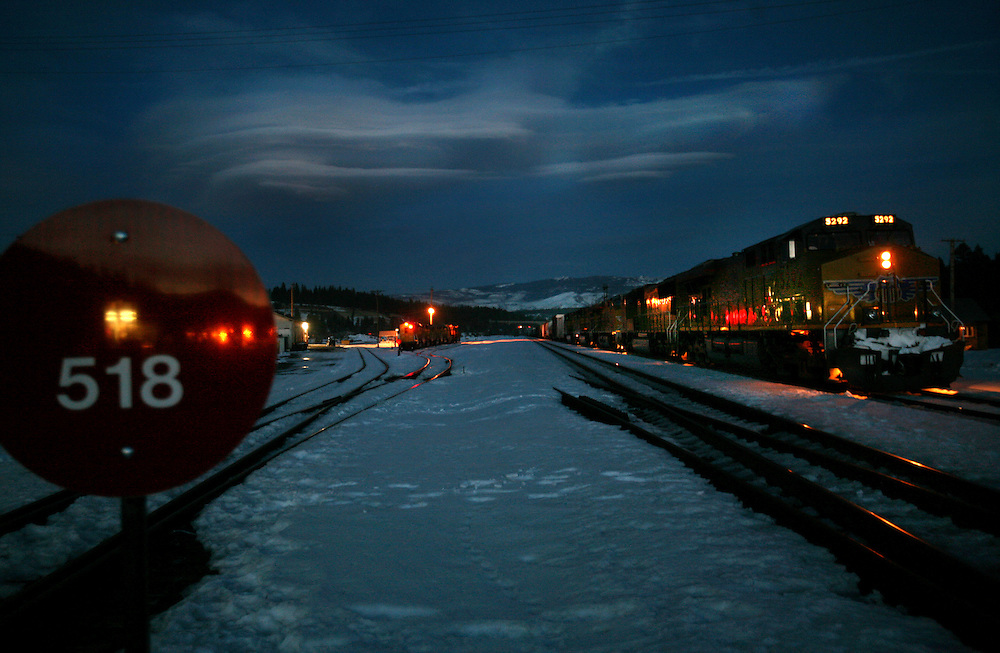 A train waits in the snowy tracks to leave the Town of Truckee in the Sierra mountains a dusk. Picture taken January 2, 2007.