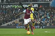 Aston Villa defender Axel Tuanzebe (28) runs ahead of Burton Albion striker Marvin Sordell (17) during the EFL Sky Bet Championship match between Aston Villa and Burton Albion at Villa Park, Birmingham, England on 3 February 2018. Picture by Richard Holmes.