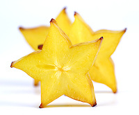 Sliced carambola on white banground