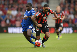 Jeffrey Schlupp of Leicester City Battles for the ball with Callum Wilson of Bournemouth - Mandatory byline: Alex James/JMP - 07966386802 - 29/08/2015 - FOOTBALL - Dean Court -Bournemouth,England - AFC Bournemouth v Leicester City - Barclays Premier League