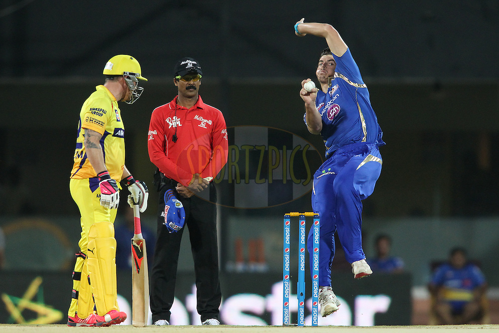 Marchant De Lange of Mumbai Indians sends down a delivery during match 43 of the Pepsi IPL 2015 (Indian Premier League) between The Chennai Super Kings and The Mumbai Indians held at the M. A. Chidambaram Stadium, Chennai Stadium in Chennai, India on the 8th May April 2015.<br /> <br /> Photo by:  Shaun Roy / SPORTZPICS / IPL