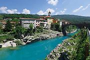 Slovenia. The Soča (Isonzo) at Kanal.