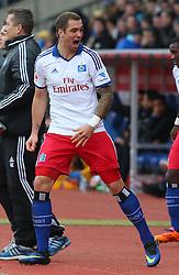 Football: Germany, 1. Bundesliga<br /> Pierre-Michel Lasogga (Hamburger SV, HSV) scores,
