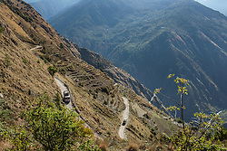 The winding road leading up to Gatlang as well as a mining area from Shyaphru. Nepal 03 May, 2013