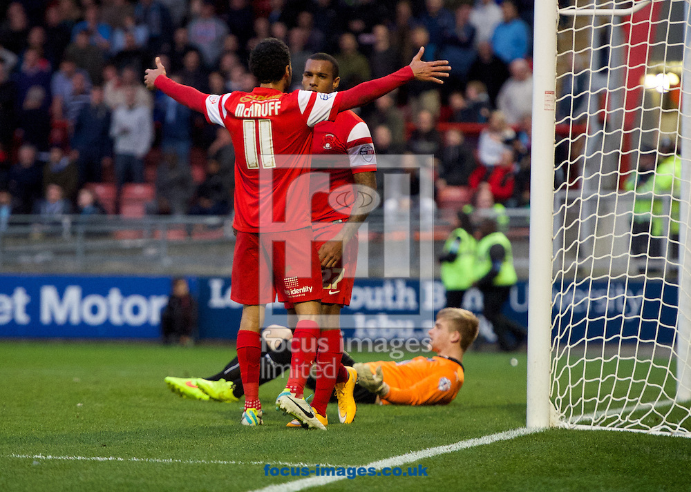 Jay Simpson of Leyton Orient celebrates his goal with Jobi McAnuff (11) during the Sky Bet League 1 match at the Matchroom Stadium, London<br /> Picture by Alan Stanford/Focus Images Ltd +44 7915 056117<br /> 01/11/2014