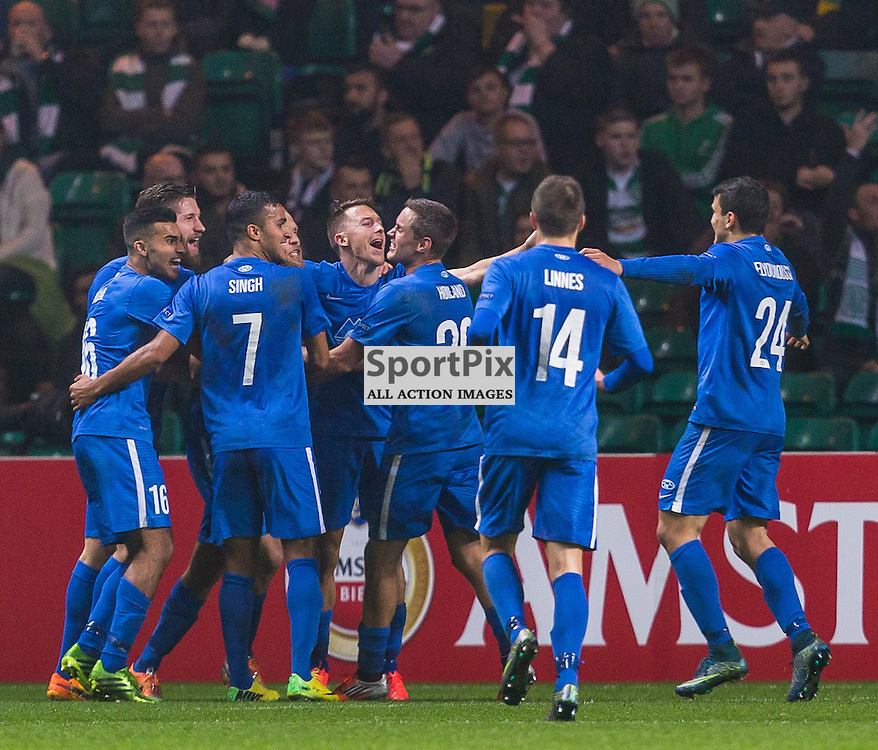 Molde FK players celebrate their second goal during the UEFA Europa League group stage match between Celtic and Molde FK (c) ROSS EAGLESHAM | Sportpix.co.uk
