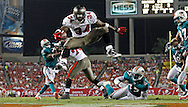 TAMPA, FL - AUGUST 27: Running Back Earnest Graham #34 of the Tampa Bay Buccaneers scores a touchdown during the preseason game against the Miami Dolphins at Raymond James Stadium on August 27, 2011, in Tampa, Florida. The Buccaneers won 17-13. (photo by MIke Carlson/Tampa Bay Buccaneers)